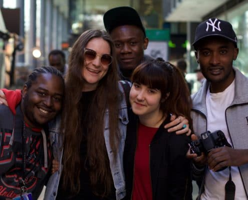 Geron, Claire, Deluxe, Sabela and Jay at the Accumul8 Shoreditch workshop.