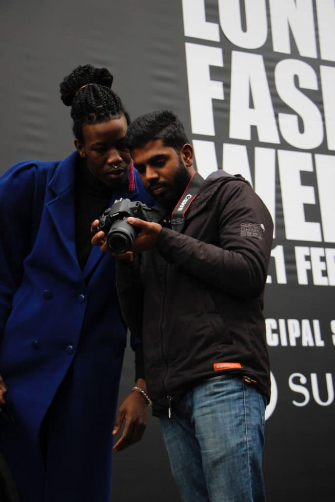 Younnis shares his photograph with a fashionista at London Fashion Week.