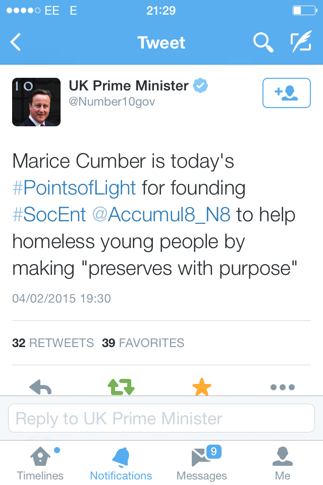 Point of Light Tweet from the PM!