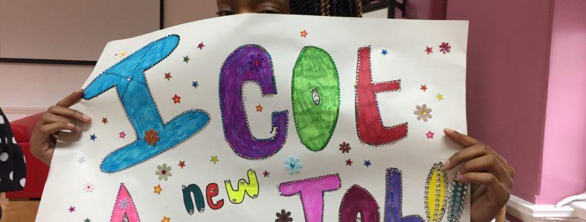 Tonya's poster at the DECAY zine workshop