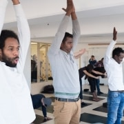 The Accumulate group try out yoga at Level Six Yoga Studio, Peckham Levels