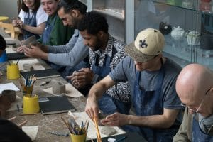 The Accumulate group at the ceramics workshop