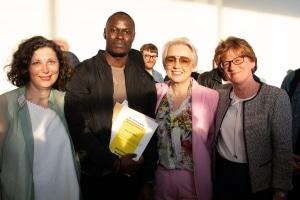 Max Sita-Mbele with Professor Linda Drew, Marice Cumber and Ruth Keetch